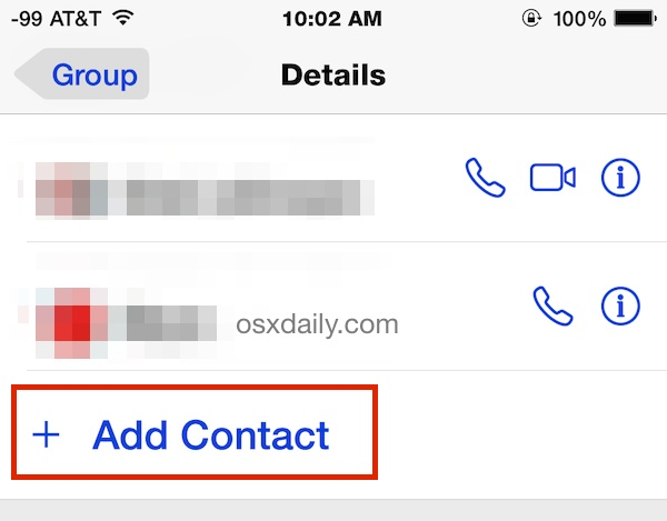 Add a contact to the group chat in Messages app of iOS