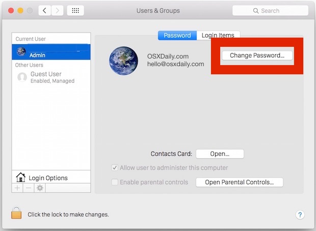 Allow the iCloud password to login to Mac OS X and unlock the Mac