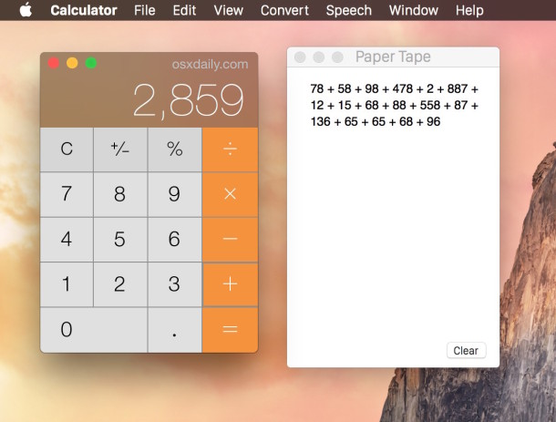 The Calculator app on Mac has a Paper Tape