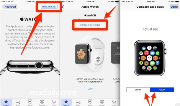 How to compare Apple Watch sizes with the iPhone Apple Store application