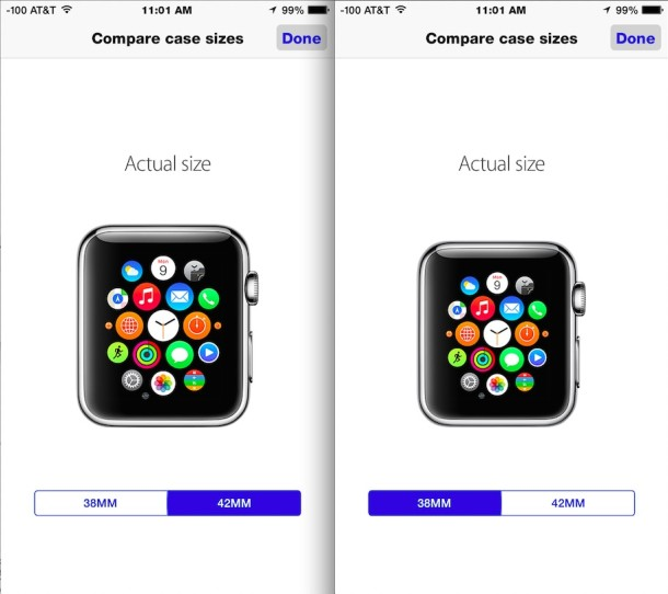 Compare actual sizes of Apple Watch