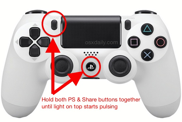 Connect the PS4 Controller to the Mac by placing it in pairing mode
