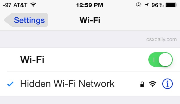Connect to a hidden wi-fi network in iOS