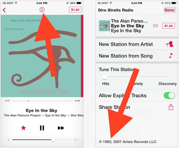 Find what year a song was released in iTunes Radio