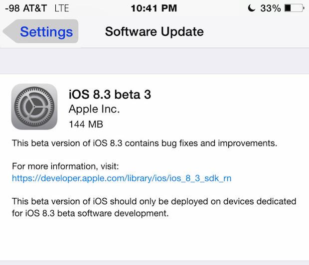 iOS 8.3 beta 3 OTA download