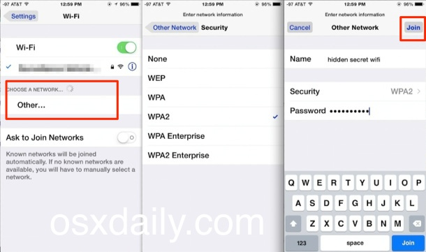 Join a hidden wi-fi network in iOS