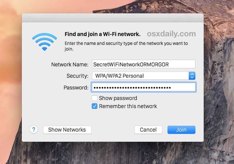 Joining a hidden wireless router from Mac OS X by specifying the non-broadcast SSID