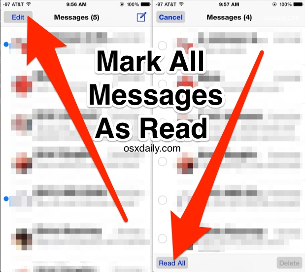 Marking All Messages as Read in iOS as demonstrated with iphone