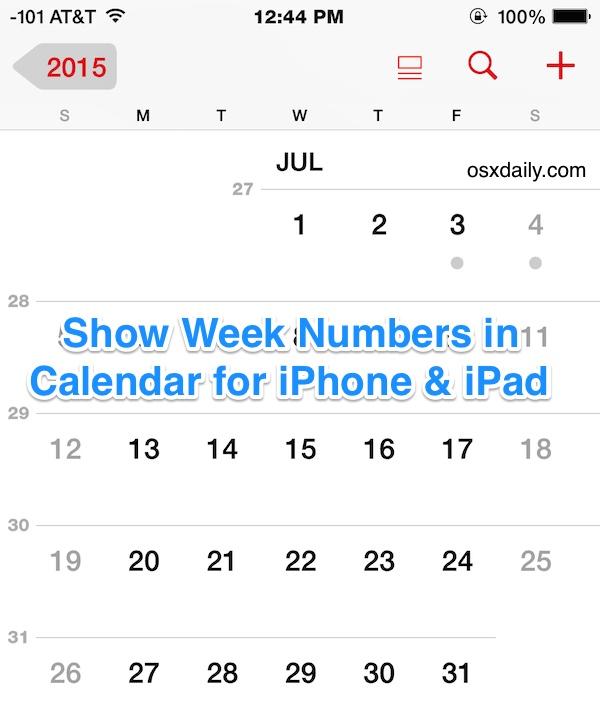 Show Week Numbers in Calendar app for iOS