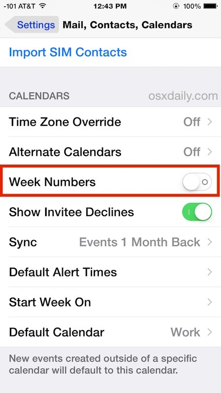 Show week numbers in Calendar for iPhone, iPad, iPod