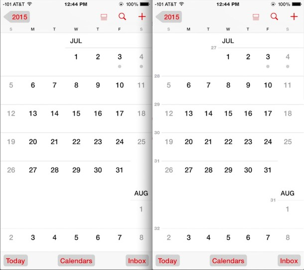 Show week numbers in iOS Calendar
