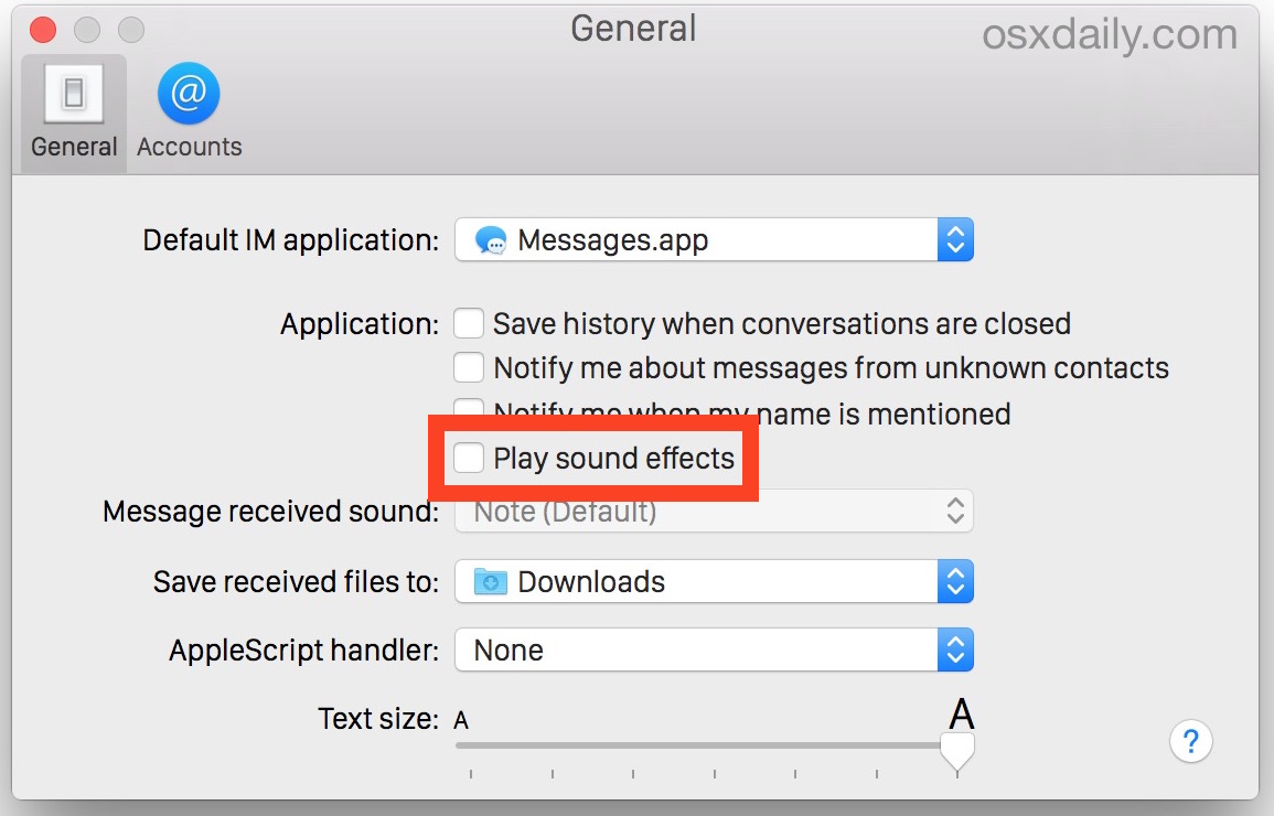 Stop Messages for Mac sound effects from playing