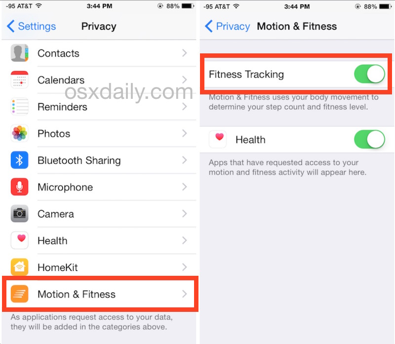 Toggle fitness and activity tracking on iPhone