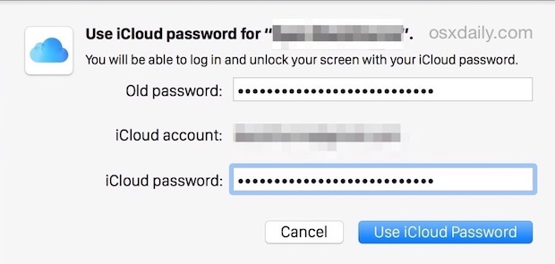 Setting the iCloud Password for use as a Mac Login and OS X Unlock password