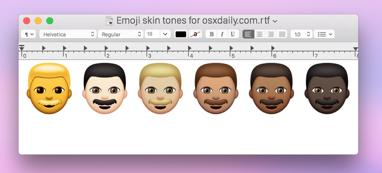 Using the diverse skin tone Emoji in Mac OS X