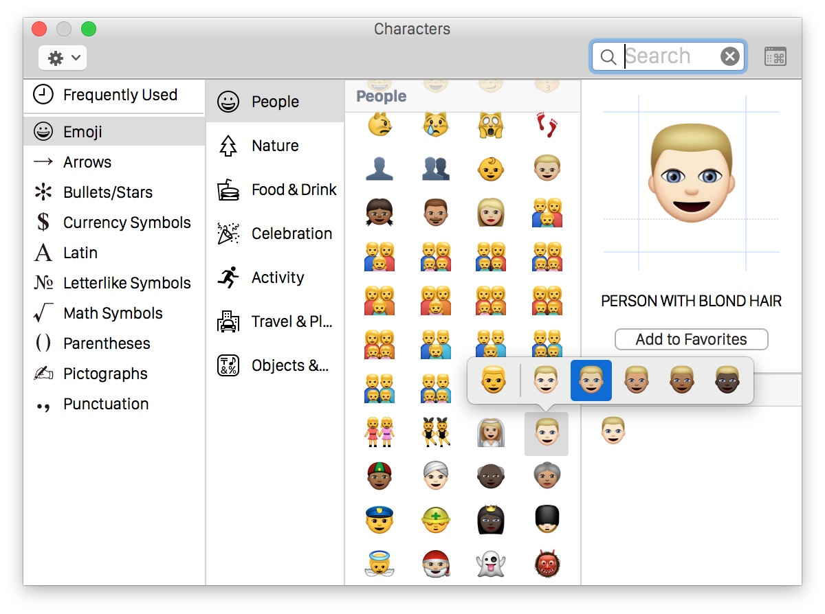 Accessing different Emoji skin tones in Mac OS X