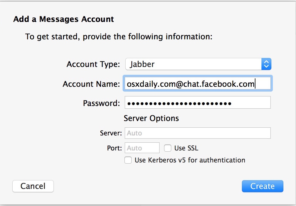 Add Facebook chat for Facebook messenger support in Mac OS X Messages app