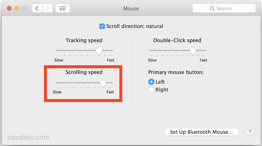 Change the scrolling speed of a mouse in Mac OS X