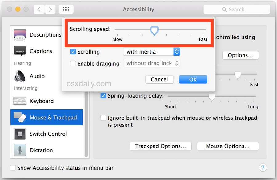 Change the scrolling speed of a Mac trackpad