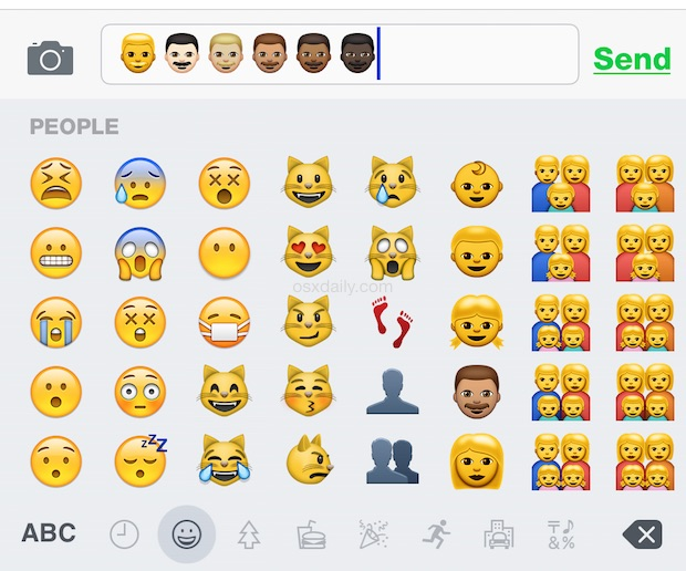 Typing the new Emoji skin tone variations