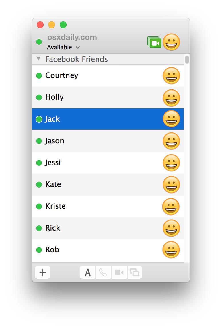Facebook Messenger friends list in Mac Messages app