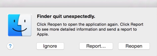 Finder crashing in Mac OS X