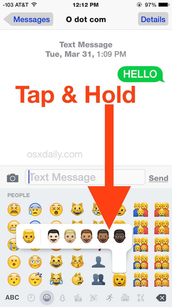 Accessing the diverse Emoji skin tone variations on iPhone