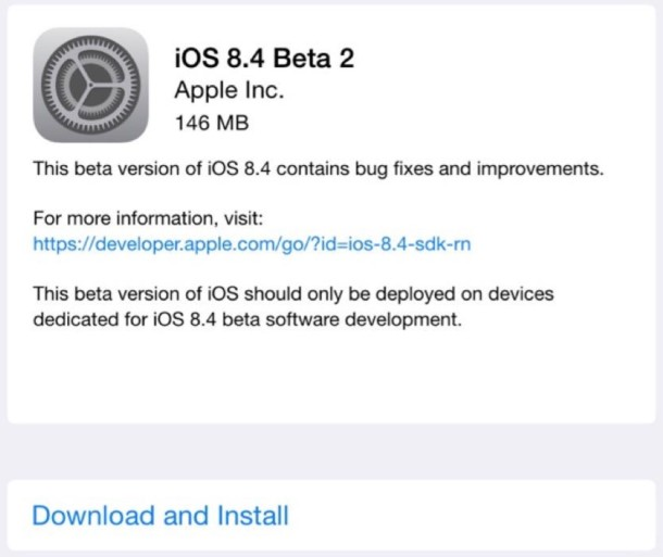 iOS 8.4 beta 2 for developers