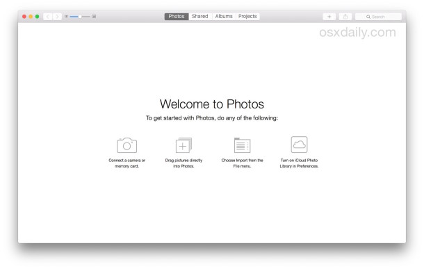 the New Photo Library screen lets you add pictures to the photo library in OS X