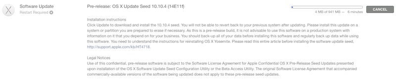 OS X 10.10.4 beta for Mac