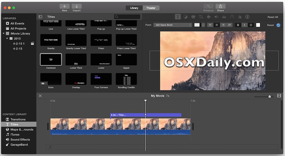Overlay text on a video with iMovie for Mac OS X