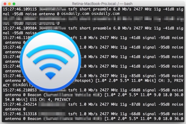 Packet sniffing in Mac OS X with Wireless Diagnostics packet capture utility