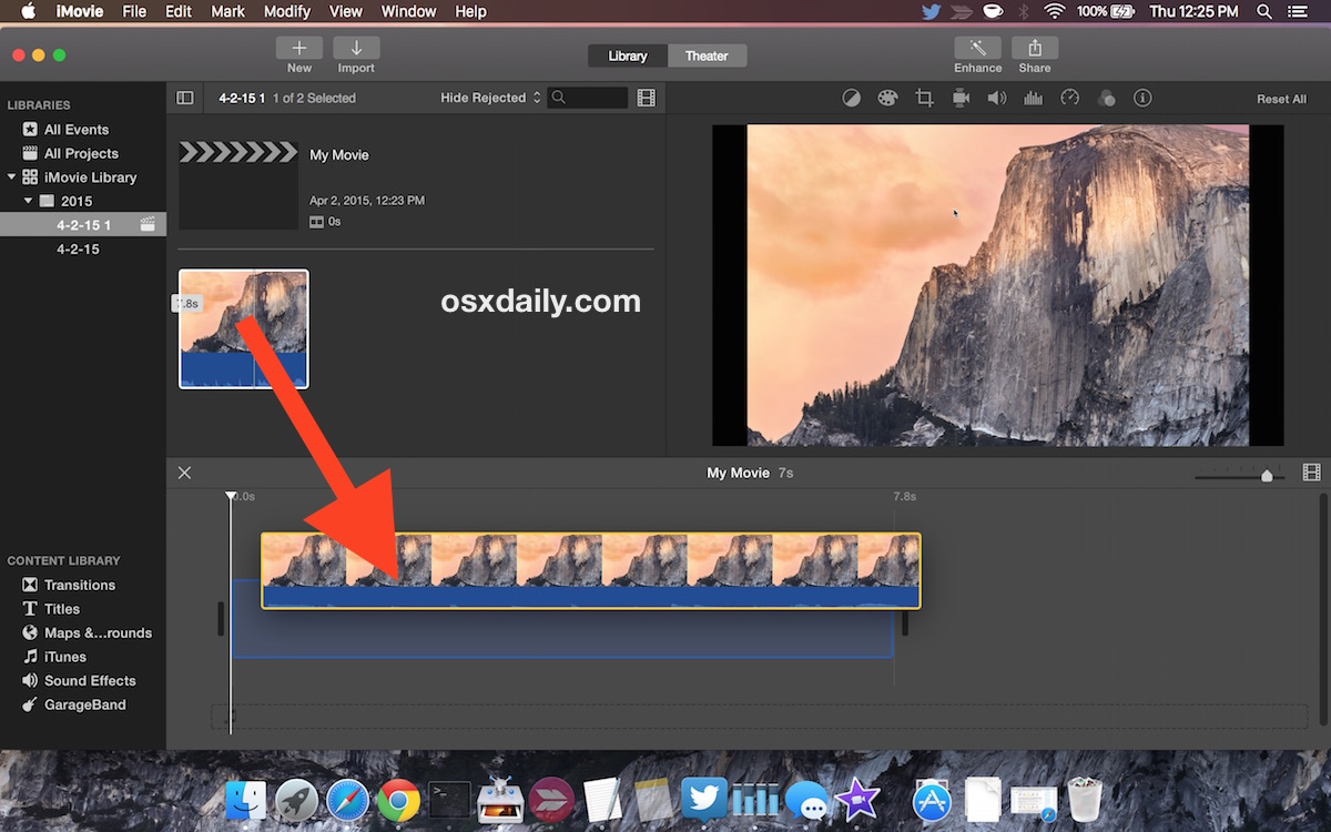 Put the movie into the timeline in iMovie like an intuitive UI would suggest