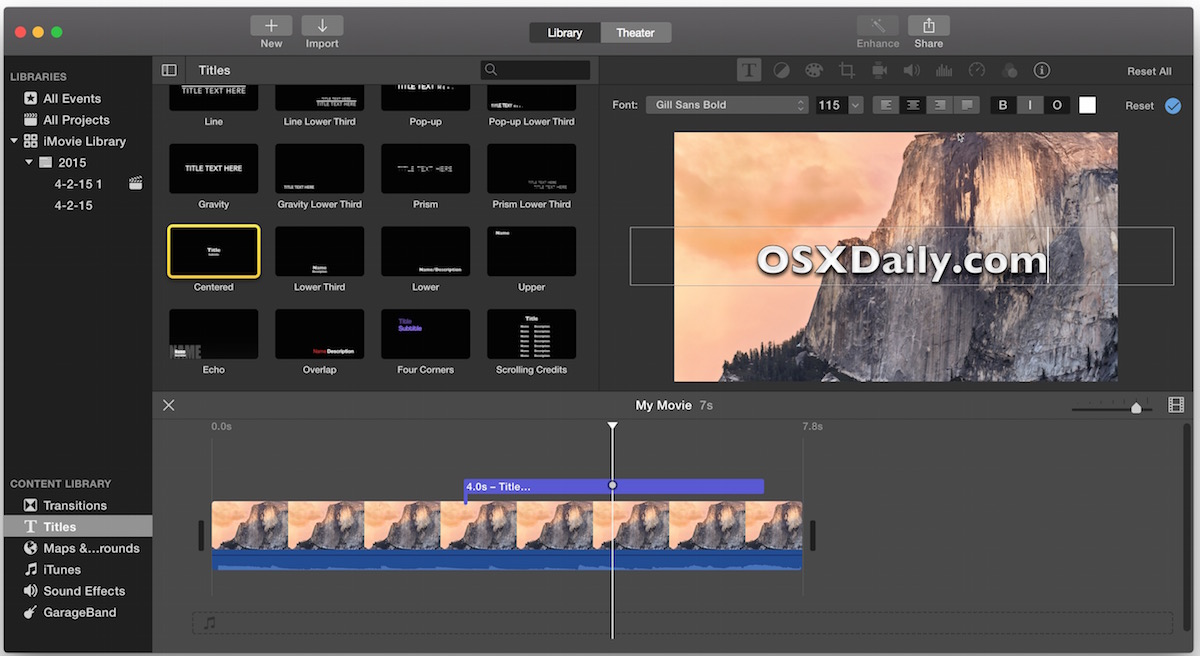 Editing the text that overlays the video in iMovie for Mac