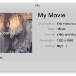 Saving a video with iMovie for Mac OS X is a unique experience of file saving using a Sharing menu