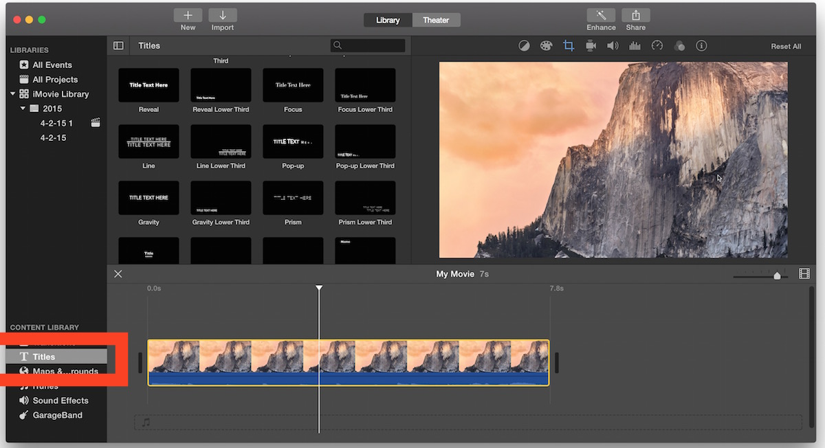 Put text overlays on a video with iMovie