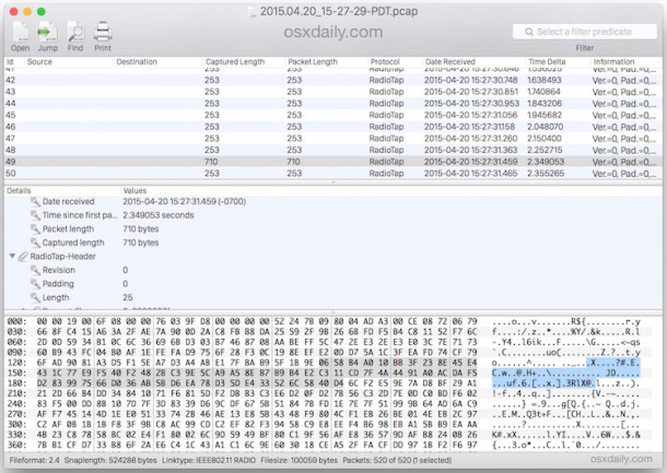 Reading a captured packet trace PCAP WCAP file in Mac OS X With Cocoa packet Analyzer app