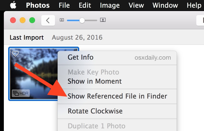 Show Referenced File in Finder from Photos app of Mac OS X