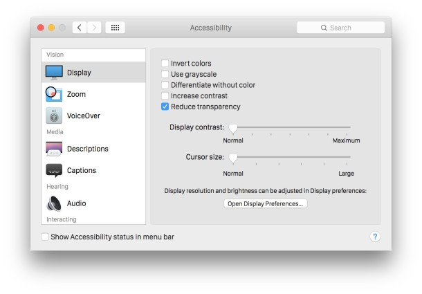 Turn off Transparency speeds up OS X