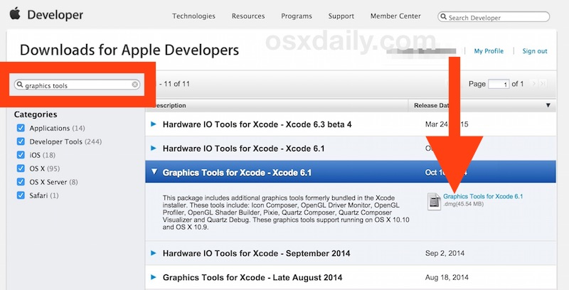 Where to download Graphics Tools for Xcode for Mac