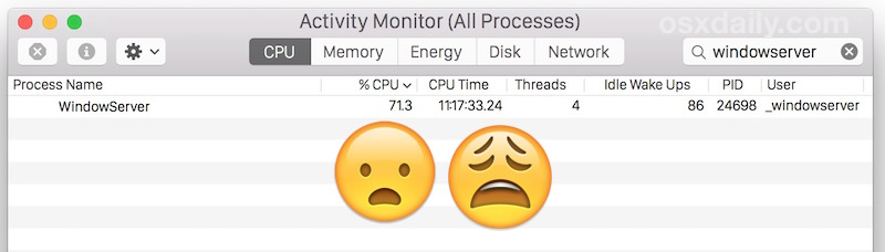 WindowServer consuming CPU and slowing down a Mac