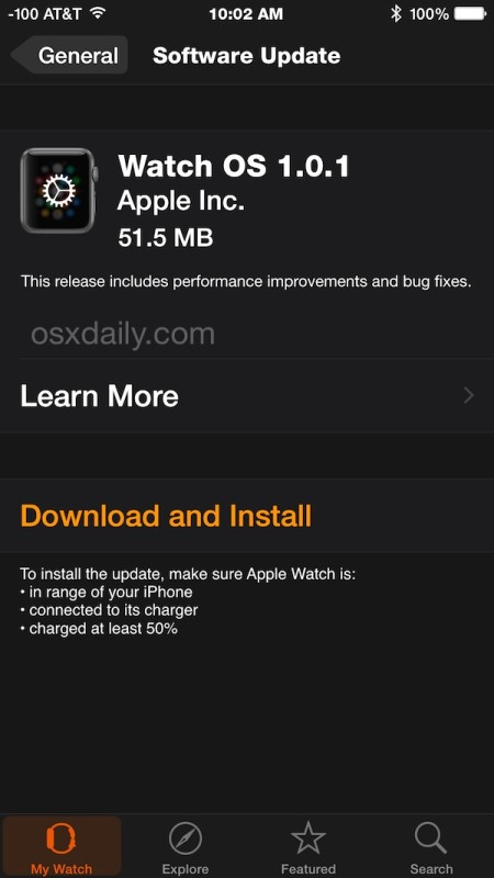 Apple Watch OS 1.0.1 update