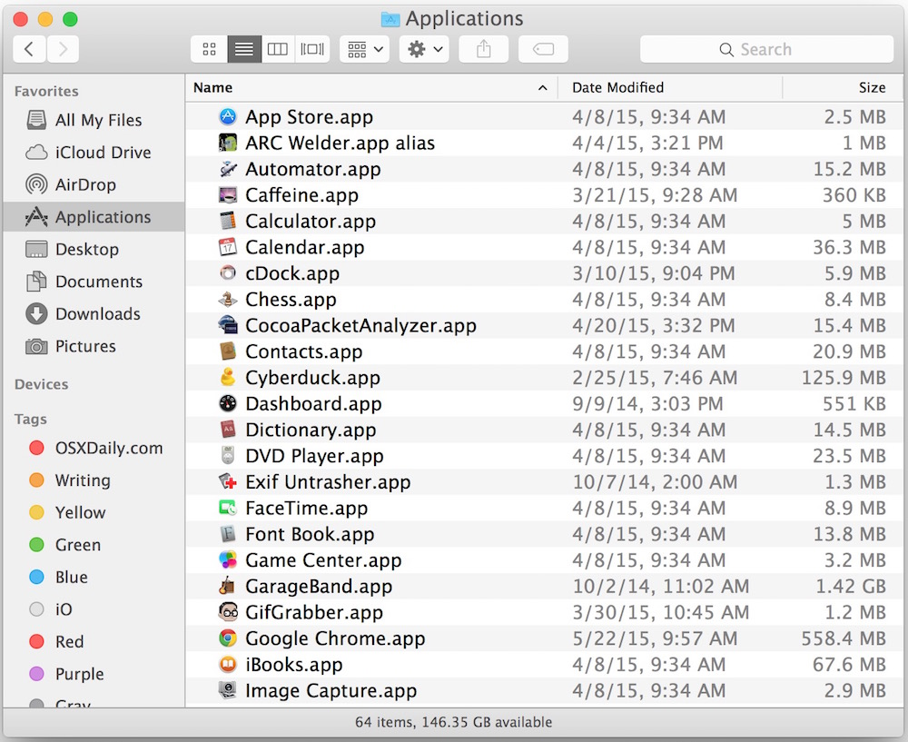 See All Applications on a Mac in Applications folder of OS X