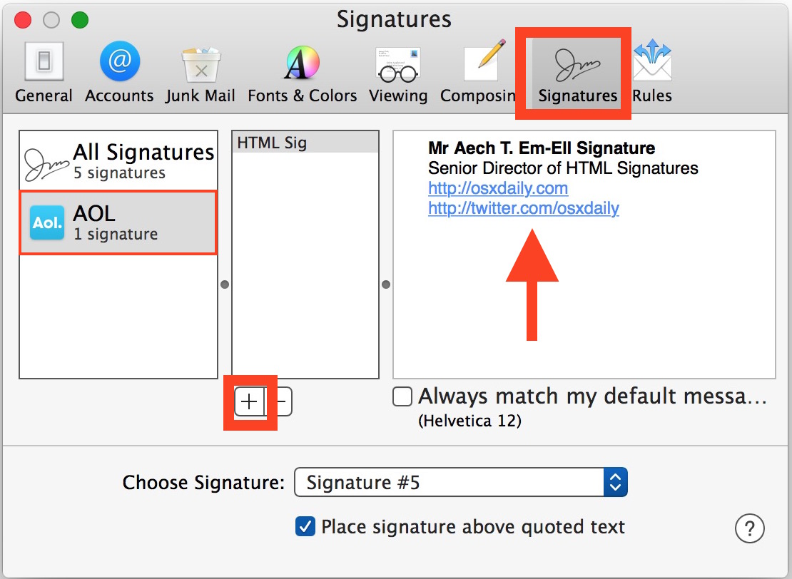 Create an HTML signature in Mac Mail app of Mac OS X