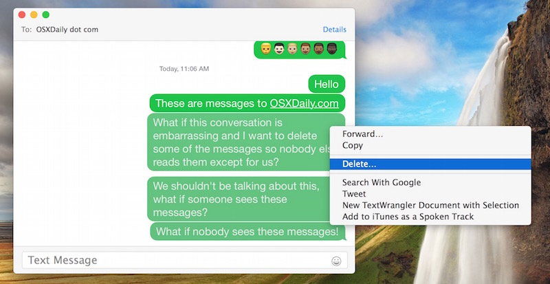 Deleting multiple message segments in Messages for Mac OS X