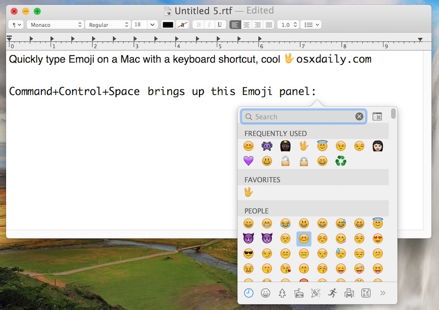 Emoji keyboard shortcut on Mac OS X