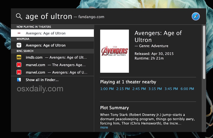 Find movies playing nearby with Spotlight in Mac OS X