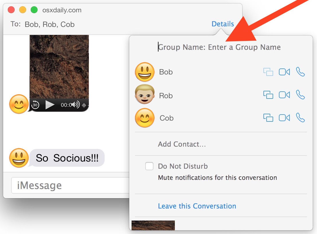 Assign a name to group chat in Messages for Mac