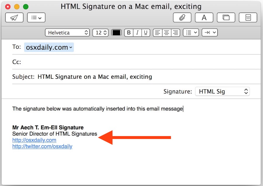 HTML signature in Mac Mail app of Mac OS X