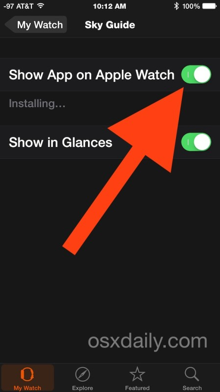 Installing an app onto Apple Watch from iPhone